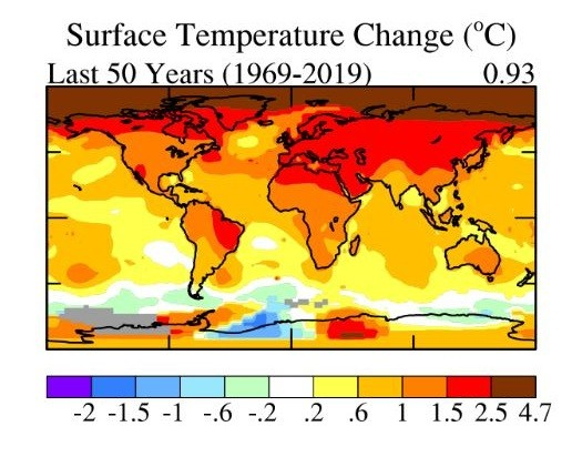 Surface Temperature Change in last 50 years